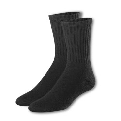 Cotton Plus - Premium Sports Crew Sock Black 12ct  - 10-13
