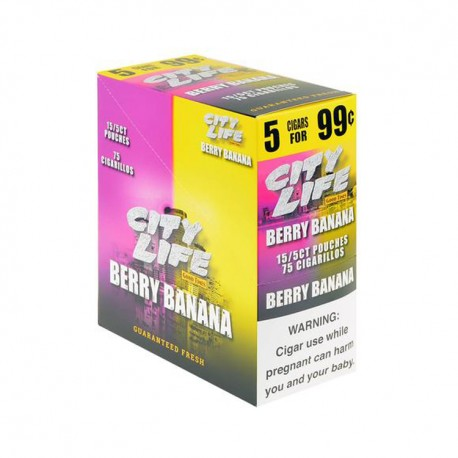 City Life Cigarillos 15ct Pouch 5/$.99  -  BERRY BANANA